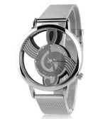 Musical note hollow glass mesh watch