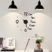 Cross-border hot sale creative 3D acrylic wall clock diy clock mute wall sticker clock Amazon explosive products Silver