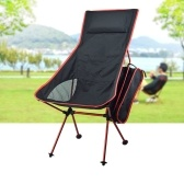New 7075 Moon Chair Recliner Outdoor Folding Chair Fishing Chair Longer and Larger with Pillow red