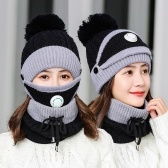Оптовая продажа фабрики зимняя шапка из трех частей плюс утолщение бархата холодостойкая велоспорт ветрозащитный дыхательный клапан вязаная шапка женская шапка черная