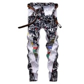 новые мужские стрейч-узкие прямые белые джинсы с индивидуальным принтом
