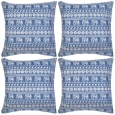 Pillow Covers 4 pcs Canvas Elephant Printed Blue 50x50 cm