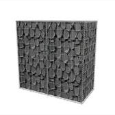 Cesto in gabbione in acciaio 100 x 50 x 100 cm