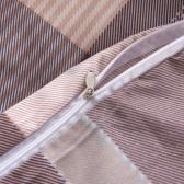 Trzyczęściowy pokrowiec na kołdrę Khaki w kratę 240x220 / 80x80 cm