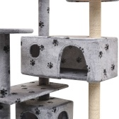 170476 Cat Tree con Sisal Scratching Posts 125 cm Paw Prints Gray