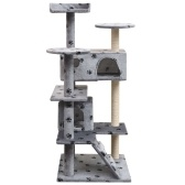 Cat Tree and Scratcher Sisal 125 cm Footprints Grey