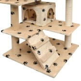 Cat Tree and Scratcher Sisal 125cm Footprints Beige