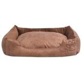 Cama de cachorro com almofada PU de couro artificial tamanho L bege