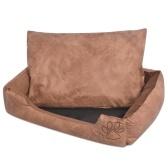 Cama de cachorro com almofada PU de couro artificial tamanho XL bege