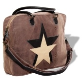 Bag in Canvas and Genuine Leather with Brown Star Pattern