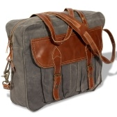Bag in Canvas and Genuine Gray Leather