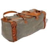 Handtasche aus Canvas und echtem hellgrauem Leder