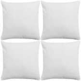 Set of 4 Pillowcases in White Linen Cushion 40x40 cm