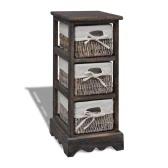 Brown Wooden Storage Rack 3 Weaving Baskets
