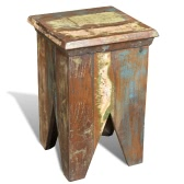 Reclaimed Wood Stool Hocker Antique Chair