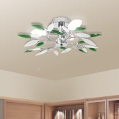 Ceiling Lamp Acrylic Crystal Leaf Arms 3 E14 Bulbs