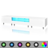 table TV avec LED blanc brillant 200 cm