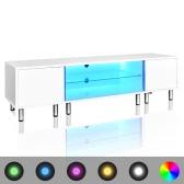 TV Tisch hochglanz weiß mit LEDs 160 cm