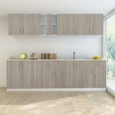 Oak Look Kitchen Cabinet with Base Unit for Sink 8 pcs