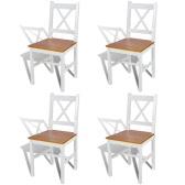 Silla de madera Silla de comedor en color blanco y natural de 4 piezas