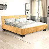 Bett handgewebtes Rattan 140 x 200 cm