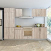 7 pcs Oak Look Kitchen Cabinet Unit for Built-in Fridge