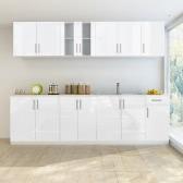 Küchenzeile in weißer Hochglanzoptik mit Spülschrank 260 cm (8 Teile)