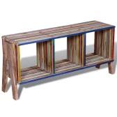 mueble de televisión con 3 estantes apilable de teca reutilizada multicolor