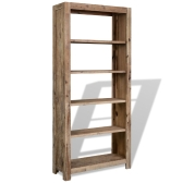 Bibliothèque à 5 niveaux en bois massif d'acacia 80x30x180 cm