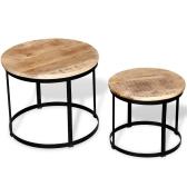 Set de mesa de centro de dos piezas de madera de mango redondo redondo 40 cm / 50 cm