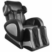 Cadeira de massagem elétrica com couro sintético preto de tela super