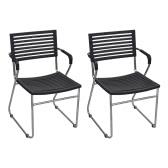 Black Stackable Arm Chair 12 pcs