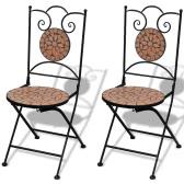 Mosaic Bistro Table 60 cm avec 2 chaises en terre cuite (41528 + 41529)