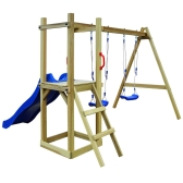 Playhouse Set with Slide Ladder Swings 242x237x175 cm Pinewood