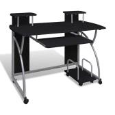 Mobile Computer Schreibtisch Ziehen Sie Behälter Schwarz Oberfläche Möbel Büro