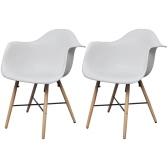 2 pcs cena la silla con brazos y piernas de madera de haya