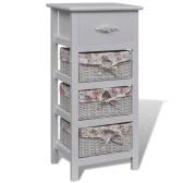 Cabinet blanc avec 1 tiroir et 3 paniers en bois