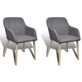 2 pcs Fabric Dining Chair Set with Oak Legs