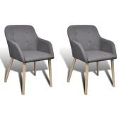 2 Stück Stoff Dining Stuhl mit Eiche Beine Set