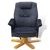 Черный искусственной кожи ТВ Кресло с ног Табурет