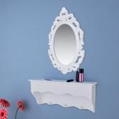 Wall Cabinet Set for Keys and Jewelry with Mirror and Hooks