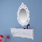 Gabinete de pared Conjunto de llaves y de la joyería con el espejo y ganchos