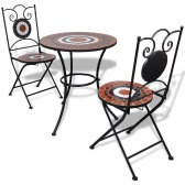 Mosaic Bistro Table 60 cm with 2 Chairs Terracotta / White