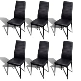 6 PC Negro Slim Line silla de comedor