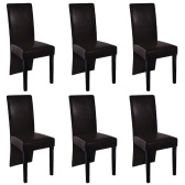 6 pcs Artificial Leather Wood Brown Dining Chair