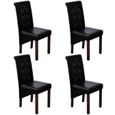 4 szt Drewno Czarny jadalna Sztuczna skórzanym fotelu