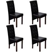 4 Stück Kunstleder Holz Schwarz Dining Chair