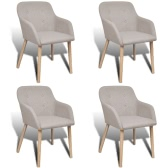 4 pcs Fabric Dining Chair Set with Oak Legs