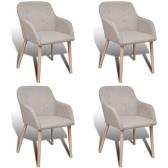 4 pcs Fabric Dining Chair Set avec Oak Legs