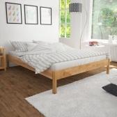 Cama doble con colchón de roble macizo 140 x 200 cm
